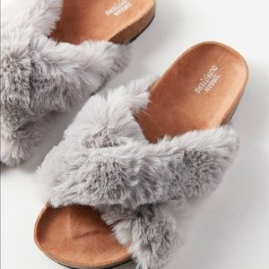 Urban outfitters cross fur slides / slip ons